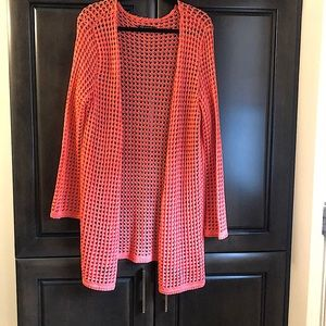 Open knit cardigan duster with side slits